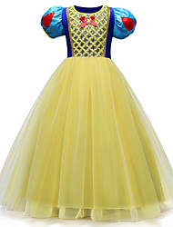 cheap -Princess Floor Length / Long Length Party / Birthday / Pageant Flower Girl Dresses - Chiffon / Satin / Polyester Short Sleeve Jewel Neck with Tier / Color Block / Crystals / Rhinestones