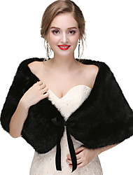 cheap -Sleeveless Capelets Faux Fur Wedding / Party / Evening Women's Wrap With Solid