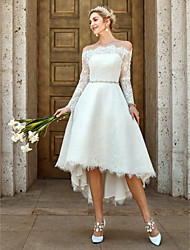 cheap -A-Line Wedding Dresses Off Shoulder Asymmetrical Lace Long Sleeve Casual Plus Size Illusion Sleeve with Lace Crystal Brooch 2020