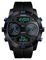 Недорогие -SKMEI Муж. Спортивные часы электронные часы Цифровой Стеганная ПУ кожа Черный 50 m Защита от влаги Календарь С тремя часовыми поясами Аналоговый Роскошь Мода - Черный Красный Синий / Фосфоресцирующий