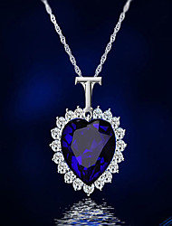cheap -Women's Sapphire Crystal Cubic Zirconia Pendant Necklace Vintage Style Stylish Simulated Heart Ladies Classic Vintage Fashion Rhinestone Alloy Blue 41 cm Necklace Jewelry 1pc For Gift Engagement