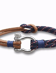 cheap -Men's Leather Bracelet Loom Bracelet Stylish Rope Plaited Wrap Creative Stylish Vintage European Paracord Bracelet Jewelry White / Dark Blue For Daily Date / Steel Stainless