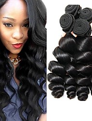 cheap -4 Bundles Indian Hair Loose Wave Human Hair Unprocessed Human Hair Natural Color Hair Weaves / Hair Bulk Hair Care Extension 8-28 inch Natural Color Human Hair Weaves Cosplay Hot Sale Thick Human