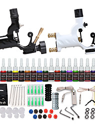 cheap -Starter Tattoo Machine Kit - 2 pcs Tattoo Machines with 20 x 5 ml tattoo inks, Professional, Safety, 20 Colors Alloy LCD power supply Case 2 rotary machine liner & shader