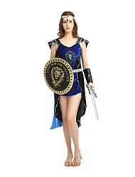 cheap -Soldier / Warrior Costume Women's Highschool Ancient Greek Ancient Rome Halloween Halloween Carnival Masquerade Festival / Holiday Polyster Outfits Ink Blue Solid Colored Halloween