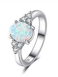 cheap -Women's Ring Opal 1pc Silver Resin Copper Platinum Plated Ladies Elegant Romantic Date Valentine Jewelry Stylish Love Fireworks Lovely / Imitation Diamond