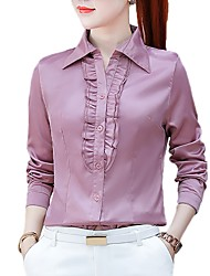cheap -Women's Work Business Plus Size Shirt - Solid Colored Ruffle Shirt Collar White XL