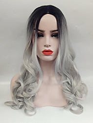 cheap -Synthetic Wig Wavy Middle Part Wig Long Black / Grey Synthetic Hair 24 inch Women's Heat Resistant Ombre Hair Middle Part Gray