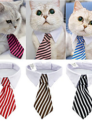 cheap -New Fashion Dog Cat Striped Bow Tie Collar Pet Adjustable Neck Tie White Collar for Tuxedo
