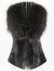 cheap -Women's Daily Basic Fall & Winter Short Vest, Solid Colored Turndown Sleeveless Faux Fur Brown / Black / Wine