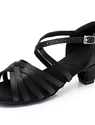 cheap -Women's Dance Shoes Satin Latin Shoes Buckle Sandal / Heel Thick Heel Customizable Black / Performance