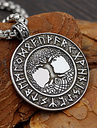 cheap -Men's Pendant Necklace Long Necklace Coin Link / Chain Tree of Life Letter life Tree Geometric Fashion Trendy scottish Alloy Silver 58 cm Necklace Jewelry 1pc For Street Date Cosplay Costumes