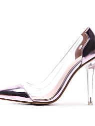 cheap -Women's Heels Transparent Shoes Pointed Toe Microfiber / Synthetics British / Lucite Heel Spring & Summer Gold / Silver / Pink / Party & Evening / Color Block / Daily / Party & Evening / Pumps