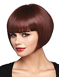 cheap -Synthetic Wig Straight Bob Wig Burgundy Short Dark Wine Synthetic Hair 12 inch Women's Women With Bangs Burgundy