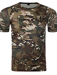 cheap -Men's Camo Hiking Tee shirt Short Sleeve Outdoor UV Resistant Breathable Fast Dry Stretchy Tee / T-shirt Top Summer Cotton Lycra Crew Neck Camping / Hiking Hunting Hiking Black / Silver Green