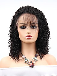 cheap -Remy Human Hair Lace Front Wig Asymmetrical Rihanna style Brazilian Hair Afro Curly Black Wig 130% Density with Baby Hair Women Easy dressing Sexy Lady Natural Women's 8-14 Human Hair Lace Wig PERFE