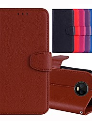 Недорогие -Кейс для Назначение Motorola MOTO G6 / Moto G6 Plus / Moto G5 Бумажник для карт / со стендом / Флип Чехол Однотонный Твердый Кожа PU / Мото G4 Plus