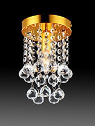 cheap -23 cm Semi Flush Mount Ceiling Light Modern LED Crystal Chandelier Chrome 1-Light Dining Room Bedroom Ceiling Lamp