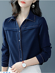 cheap -Women's Daily Work Basic Cotton Slim Shirt - Solid Colored Patchwork Shirt Collar Blue