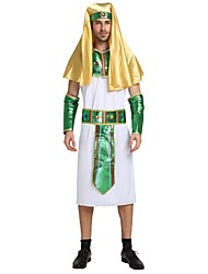 cheap -Egyptian Costume Adults Men's Halloween Costume For Polyster Solid Colored Halloween Halloween Carnival Masquerade Leotard / Onesie Belt Headwear / Neckwear
