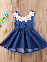 cheap -Kids Girls' Active Sweet Daily Solid Colored Lace Backless Lace up Sleeveless Knee-length Dress Blue