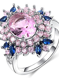 cheap -Statement Ring Amethyst Layered Pink Copper Platinum Plated Imitation Diamond Flower Ladies Unusual Unique Design 1pc 6 7 8 9 10 / Women's / Solitaire