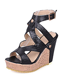 cheap -Women's Sandals Wedge Heel Open Toe PU Gladiator Spring & Summer Black / White / Party & Evening / Party & Evening