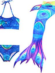 cheap -Kids Girls' Swimwear Bikini 3pcs Swimsuit Mermaid Tail The Little Mermaid Backless Swimwear Geometric Blue Active Cosplay Costumes Bathing Suits 3-10 Years