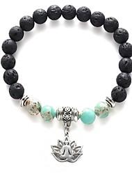 cheap -Women's Bead Bracelet Retro Flower Lotus Ladies Fashion Folk Style Stone Bracelet Jewelry Black For Daily