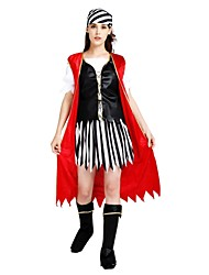 cheap -Pirates of the Caribbean Costume Women's Adults Halloween Halloween Carnival Masquerade Festival / Holiday Polyster Outfits Black Solid Colored Striped Halloween
