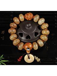 cheap -Women's Bead Bracelet Pendant Bracelet Braided Beads Monkey Gourd Ladies Stylish Vintage Ethnic Cord Bracelet Jewelry Light Yellow For Date Festival / Resin / Wood