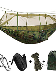 cheap -Camping Hammock with Mosquito Net Double Hammock Outdoor Portable Lightweight Breathable Anti-Mosquito Moistureproof Parachute Nylon with Carabiners and Tree Straps for 2 person Hunting Hiking Camping