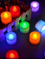 cheap -24Pcs  LED Candle Multicolor Lamp Simulation Color Flame Tea Light Home Wedding Birthday Party Decoration