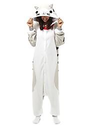 cheap -Adults' Kigurumi Pajamas Cat Onesie Pajamas Polar Fleece White+Gray Cosplay For Men and Women Animal Sleepwear Cartoon Festival / Holiday Costumes