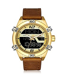 cheap -NAVIFORCE Men's Sport Watch Military Watch Japanese Japanese Quartz 30 m Water Resistant / Water Proof Alarm Calendar / date / day Genuine Leather Band Analog-Digital Luxury Fashion Black / Blue