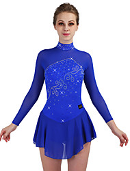 cheap -Figure Skating Dress Women's Ice Skating Dress Royal Blue Stretchy Training Competition Skating Wear Quick Dry Anatomic Design Classic Long Sleeve Ice Skating Outdoor Exercise Figure Skating / Kid's