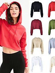 cheap -Women's Cropped Streetwear Hoodie & Sweatshirt Winter Pullover Running Fitness Workout Breathable Soft Sweat-wicking Sportswear Top Long Sleeve Activewear Inelastic