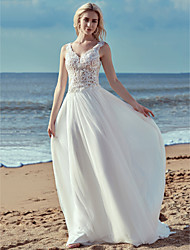 cheap -A-Line Wedding Dresses V Neck Sweep / Brush Train Lace Tulle Regular Straps Cutouts with Lace Ruffles 2020