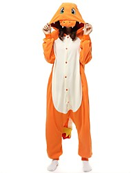 cheap -Adults' Kigurumi Pajamas Cartoon Onesie Pajamas Polar Fleece Yellow Cosplay For Men and Women Animal Sleepwear Cartoon Festival / Holiday Costumes