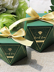 cheap -irregular Card Paper Favor Holder with Ribbons Favor Boxes - 12pcs