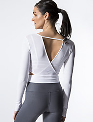 cheap -Women's Cut Out Open Back Yoga Top Fashion Lycra Zumba Running Fitness Tee / T-shirt Long Sleeve Activewear Breathable Quick Dry Sweat-wicking High Elasticity