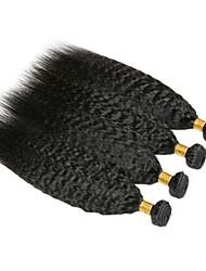 cheap -4 Bundles Brazilian Hair kinky Straight Human Hair Natural Color Hair Weaves / Hair Bulk Bundle Hair Human Hair Extensions 8-28 inch Natural Color Human Hair Weaves Women Extention Best Quality Human