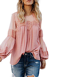 cheap -Women's Going out T-shirt - Solid Colored Dusty Rose Black
