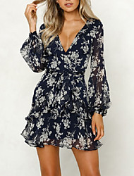cheap -Women's Holiday Going out Dress - Floral Print Wrap Deep V Summer White M L XL