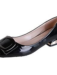 cheap -Women's Flats Low Heel Square Toe PU Fall Black / Almond / Blue