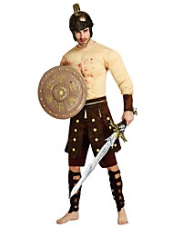 cheap -Soldier / Warrior Costume Men's Adults Ancient Greek Ancient Rome Halloween Halloween Carnival Masquerade Festival / Holiday Polyster Outfits Beige Solid Colored Halloween