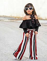 cheap -Kids Girls' Street chic Striped Lace up Long Sleeve Clothing Set Black