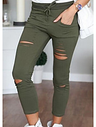 cheap -Women's Cotton Skinny Daily Chinos Pants Solid Colored White Black Army Green
