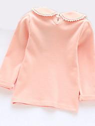 Недорогие -Дети Девочки Классический Повседневные Однотонный Длинный рукав Обычный Футболка Розовый