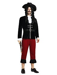 cheap -Pirates of the Caribbean Costume Men's Adults Halloween Carnival Masquerade Festival / Holiday Polyster Outfits Black Solid Colored Halloween
